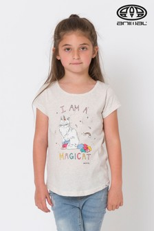Animal Vanilla Magicat Meliertes Grafik-T-Shirt, creme