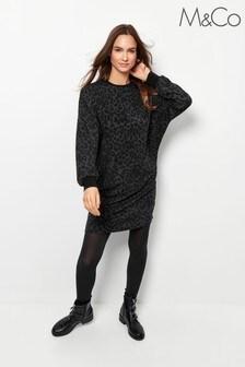 M&Co Grey Leopard Print Sweater Dress