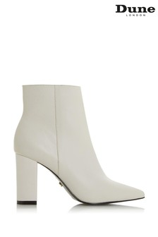 Dune London Otilia White Leather Point Toe Formal Boots