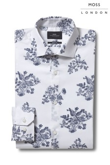 Moss London Skinny Fit Navy Single Cuff Floral Print Shirt