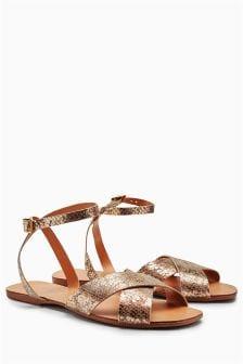 Leather Cross Vamp Sandals