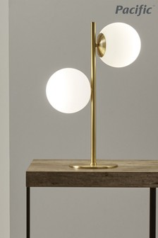Leo White Orb and Gold Metal Table Lamp by Pacific Lifestyle