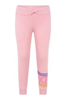 Girls Pink Cotton Logo Joggers