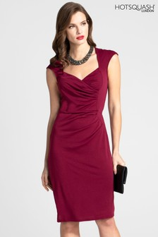 HotSquash Burgundy Short Sleeved Dress With Crossover Top