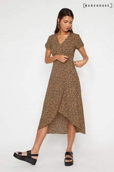 Warehouse Tan Print Midi Wrap Dress