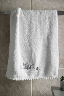 Bee Embroidered Hand Towel