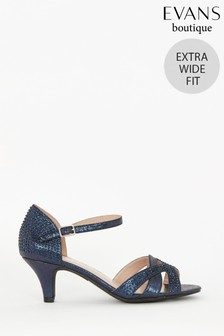 Evans Blue Extra Wide Fit Embellished Kitten Heels