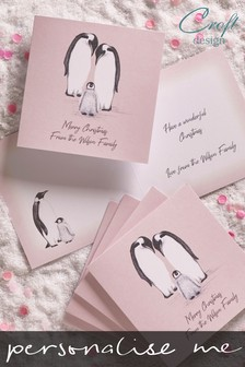 20 Pack Personalised Penguin Christmas Cards by Croft Designs