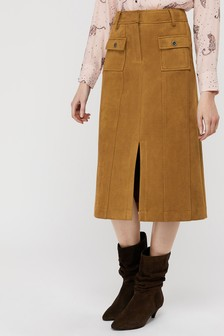 Monsoon Tan Sally Suedette Midi Skirt