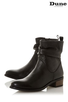 Dune London Pagerss 2 Black Leather Ruched Ankle Boots