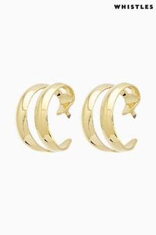 Whistles Gold Tone Mini Double Hoop Earrings