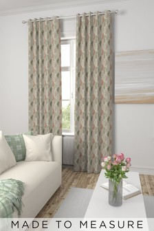 Watercolour Hexagon Terracotta Natural Made To Measure Curtains