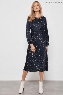 Mint Velvet Blue Spot Print Satin Midi Dress