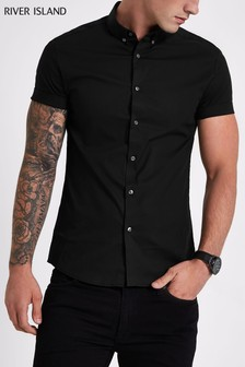 River Island Black Short Sleeved Muscle Fit Shirt