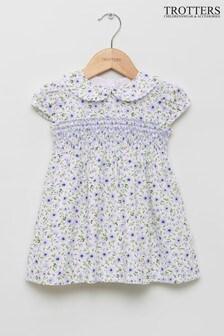 Trotters London Blue Catherine Poppy Smocked Dress