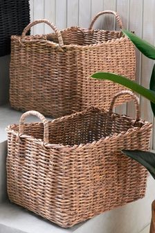 Set of 2 Wicker Effect Baskets