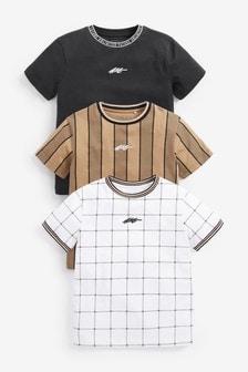 3 Pack Vertical Stripe T-Shirts (3-16yrs)