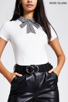 River Island White Dogtooth Collar Top