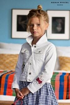 Sonia Rykiel White Embroidered Denim Jacket