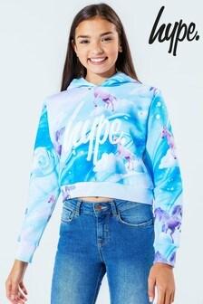 Hype. Kids Multi Baby Unicorn Crop Pullover Hoody
