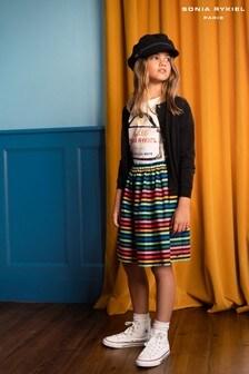 Sonia Rykiel Black Multicoloured Stripe Midi Skirt