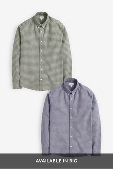 Regular Fit Long Sleeve Gingham Oxford Shirt Two Pack