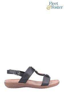 Fleet & Foster Black Rosa Buckle Sandals