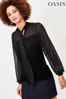 סוודר מתערובת אריג עם נקודות של Oasis מדגם Sammy בצבע שחור