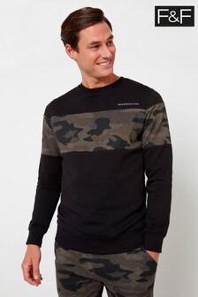 F&F Green Camo Cut And Sew Crew Sweater