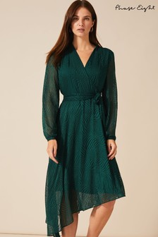 Phase Eight Green Jenifer Clipped Jacquard Dress