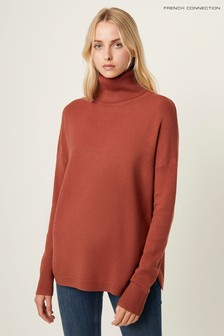 French Connection Gold Ribbed Jumper