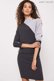 Mint Velvet Grey Blocked Batwing Dress