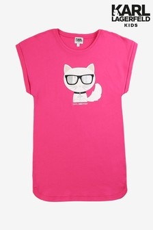 Karl Lagerfeld Kids Pink Cat Dress