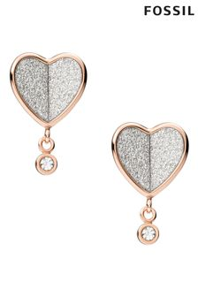 Fossil Rose Gold Vintage Glitz Heart Earrings