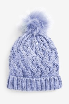 Knitted Cable Pom Hat