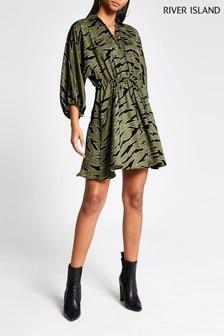 River Island Khaki Animal Shirt Dress