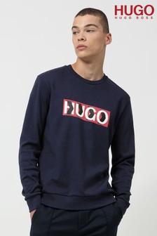 HUGO Blue Dicago Crew Neck Logo Sweatshirt
