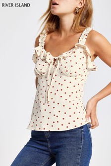 River Island White Spot Frilly Cami