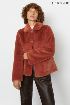 Jigsaw Brown Faux Fur Box Coat