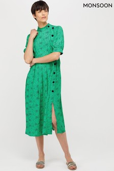Monsoon Green Celleni Star Print Short Sleeve Dress