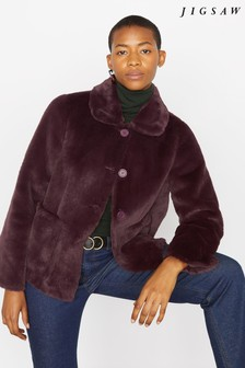 Jigsaw Purple Faux Fur Box Coat