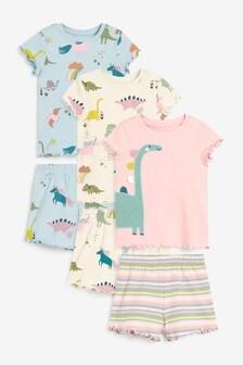 3 Pack Short Sleeve Dinosaur Snuggle Pyjamas