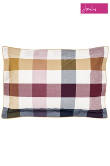 Joules Country Ramble Check Piped Cotton Pillowcase