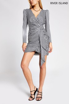 River Island Dogtooth Polly Waisted Dress