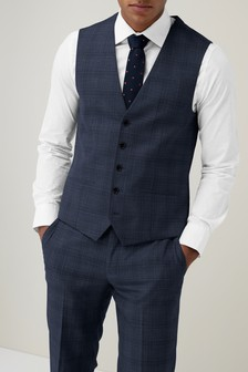 Check Tailored Fit Suit: Waistcoat