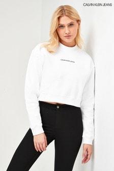 Calvin Klein Jeans White Back Monogram Cropped Sweatshirt