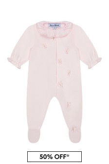 Baby Girls Pink Cotton Babygrow