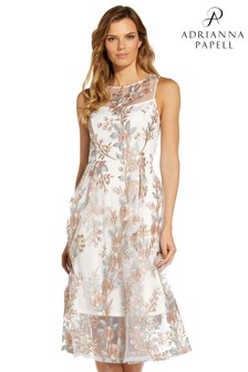 Adrianna Papell Pink Multi Floral Embroidery Flared Dress