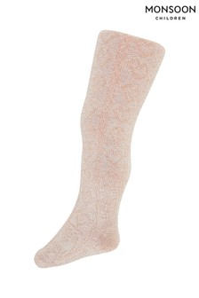 Monsoon Children Pink Baby Sparkle Bamboo Cable Tights