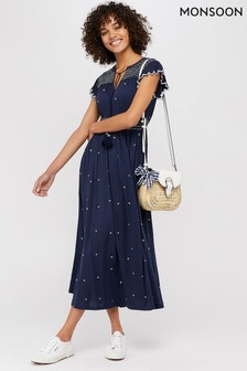 Monsoon Navy Jo Jersey Embroidered Midi Dress